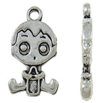 Character Shaped Zinc Alloy Pendants, Boy, antique silver color plated, nickel, lead & cadmium free, 23x13x2.50mm, Hole:Approx 2.5mm, Approx 290PCs/KG, Sold By KG