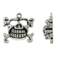Zinc Alloy Skull Pendants, antique silver color plated, Imitation Antique, nickel, lead & cadmium free, 22x22.50x7mm, Hole:Approx 1.9mm, Approx 290PCs/KG, Sold By KG