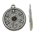 Zinc Alloy Pendant Rhinestone Setting Coin antique silver color plated nickel lead   cadmium free 28x23.50x3.80mm Hole:Approx 2mm Inner Diameter:Approx 2.5mm Approx 155PCs/KG