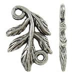 Łącznika ze stopu cynku liści, Stop cynku, Liść, Platerowane kolorem starego srebra, bez zawartości niklu, ołowiu i kadmu, 15.50x10x1.50mm, otwór:około 1.3mm, około 2000komputery/KG, sprzedane przez KG