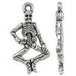 Zinc Alloy Skull Pendants, Skeleton, antique silver color plated, Imitation Antique, nickel, lead & cadmium free, 25.50x13x3.40mm, Hole:Approx 2mm, Approx 660PCs/KG, Sold By KG