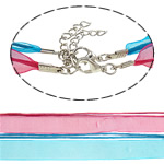 Fashion Necklace Cord, Wax, with Ribbon, zinc alloy lobster clasp, mixed colors, 10mm-1mm, Length:18Inch, 100Strands/Bag, Sold By Bag