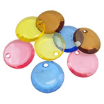 Acrylic Pendants, Coin, translucent, mixed colors, 24x4mm, Hole:Approx 3.5mm, 5KG/Lot, Sold By Lot
