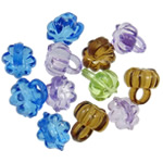 Acrylic Pendants, Flower, translucent, mixed colors, 10x10.50mm, Hole:Approx 3.5mm, 5KG/Lot, Sold By Lot