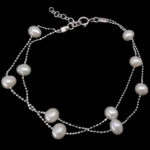Freshwater Cultured Pearl Bracelet Freshwater Pearl sterling silver spring ring clasp with 0.75 inch extender chain 2-strand white 5-6mm Length:Approx 7 Inch 2Strands/Lot
