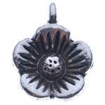 Wisior ze stopu cyku w kształcie kwiatu, Stop cynku, Platerowane kolorem starego srebra, bez zawartości niklu, ołowiu i kadmu, 14x10.50x4.50mm, otwór:około 2mm, około 1000komputery/KG, sprzedane przez KG