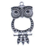 Zinc Alloy Pendant Rhinestone Setting Owl antique silver color plated nickel lead   cadmium free 56.50x28.50x5mm Hole:Approx 3mm Inner Diameter:Approx 2 2.5 5mm Approx 200PCs/KG