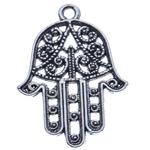 Zinklegering Hamsa Hangers, Zinc Alloy, antiek zilver plated, Joodse Jewelry & Islam sieraden & Imitatie Antieke, nikkel, lood en cadmium vrij, 30x21.50x1mm, Gat:Ca 2mm, Ca 500pC's/KG, Verkocht door KG