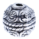 Zinc Alloy Jewelry Beads Round antique silver color plated nickel lead   cadmium free 10x10mm Hole:Approx 2mm Approx 300PCs/KG