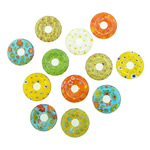 Millefiori Slice Lampwork Pendants, Donut, inner flower, mixed colors, 21x21x4mm, Hole:Approx 5mm, 20PCs/Lot, Sold By Lot
