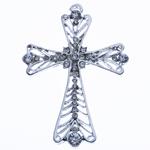 Wisior ze stopu cynku w kształcie krzyża, Stop cynku, Platerowane kolorem starego srebra, z kamieniem, bez zawartości niklu, ołowiu i kadmu, 73x51x6mm, otwór:około 3mm, sprzedane przez PC