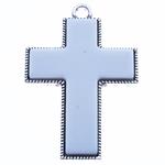 Wisior ze stopu cynku w kształcie krzyża, Stop cynku, biały, bez zawartości niklu, ołowiu i kadmu, 82x54x7.50mm, otwór:około 6mm, sprzedane przez PC