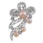 Freshwater Pearl Brooch, with Brass, Flower, with rhinestone, pink, 40x53x18mm, Sold By PC