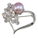 Freshwater Pearl Brooch, Brass, with Freshwater Pearl, Heart, platinum color plated, with rhinestone, more colors for choice, nickel, lead & cadmium free, 33x37x17mm, 9-10mm, Sold By PC