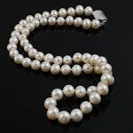 Naszyjnik z naturalnych pereł słodkowodnych, Perła naturalna słodkowodna, Mosiądz zapięcie wpinane, Koło, Naturalne, biały, 8-9mm, sprzedawane na 16.5 cal Strand