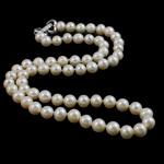Naszyjnik z naturalnych pereł słodkowodnych, Perła naturalna słodkowodna, Mosiądz zapięcie, Koło, Naturalne, biały, 5-6mm, sprzedawane na 17 cal Strand