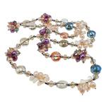 Kryształowy naszyjnik z perłami słodkowodnymi, Perła naturalna słodkowodna, ze Kryształ & Kryształ górski, 12x10mm, sprzedawane na 32 cal Strand