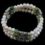 Freshwater Cultured Pearl Bracelet, Freshwater Pearl, with Cloisonne & Zinc Alloy, Potato, antique silver color plated, 6-7mm, Sold Per 6.5 Inch Strand