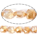Imitation CRYSTALLIZED™ Element Crystal Beads, Hexagon, imitation CRYSTALLIZED™ crystal & machine faceted, Gold Champagne, 10x10x6mm, Hole:Approx 1mm, 100PCs/Lot, Sold By Lot