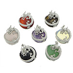 Mixed Gemstone Pendants, with Brass, Dragon, 31x36x14mm, Hole:Approx 4x5mm, 10PCs/Bag, Sold By Bag