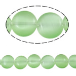 Cats Eye Jewelry Beads, Flat Round, green, 10x4mm, Hole:Approx 1mm, Approx 37PCs/Strand, Sold Per Approx 14.9 Inch Strand