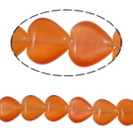 Cats Eye Jewelry Beads Hart oranje 10x9.50x4mm Gat:Ca 1mm Ca 34pC's/Strand Per verkocht Ca 13.5 inch Strand