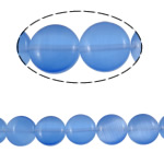 Cats Eye Jewelry Beads Flat Round blue 10x4mm Hole:Approx 1mm Approx 39PCs/Strand Sold Per Approx 15.6 Inch Strand