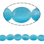 Cats Eye Jewelry Beads Plat Ovaal blauw 8x10x3.50mm Gat:Ca 1mm Ca 48pC's/Strand Per verkocht Ca 15.4 inch Strand
