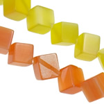 Cats Eye Jewelry Beads, Cube, mixed colors, 12x12mm, Hole:Approx 1.5mm, Approx 31PCs/Strand, Sold Per Approx 14.8 Inch Strand