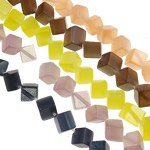Cats Eye Jewelry Beads, Cube, mixed colors, 8mm, Hole:Approx 1mm, Length:Approx 13.4 Inch, 10Strands/Bag, Approx 42PCs/Strand, Sold By Bag