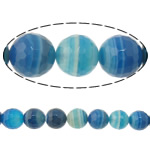 Natural Blue Agate Beads, Round, machine faceted & stripe, 6mm, Hole:Approx 2mm, Length:15 Inch, 5Strands/Lot, Sold By Lot