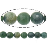 Agate Beads, Moss Agate, Round, faceted, 8mm, Hole:Approx 2mm, Length:Approx 16 Inch, 10Strands/Lot, Approx 50PCs/Strand, Sold By Lot