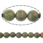 Natural Unakite Beads, Round, faceted, 10mm, Hole:Approx 1mm, Length:15 Inch, 5Strands/Lot, Approx 37PCs/Strand, Sold By Lot