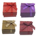 Kartonowe pudełko na pierścienie, Papier, Prostokąt, wzór w okrągłe plamki, mieszane kolory, 51x50x31mm, 120komputery/wiele, sprzedane przez wiele