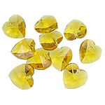 Crystal Pendants, Heart, Topaz, 14x14x7.50mm, Hole:Approx 1mm, 10PCs/Bag, Sold By Bag