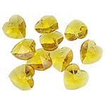 Zawieszki kryształowe, Kryształ, Serce, topaz, 14x14x7.50mm, otwór:około 1mm, 10komputery/torba, sprzedane przez torba