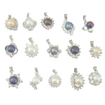 Freshwater Pearl Pendants, with Brass, platinum color plated, with rhinestone & mixed, 15-16.5x20.8-23.2x9.2-12.2mm, Hole:Approx 4x5mm, 10PCs/Lot, Sold By Lot