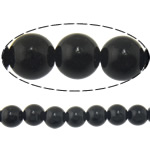 Black Stone Beads, Ronde, natuurlijk, 10mm, Gat:Ca 1mm, Lengte:Ca 15 inch, 10strengen/Lot, Ca 37pC's/Strand, Verkocht door Lot