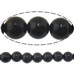Black Stone Beads, Ronde, natuurlijk, 16mm, Gat:Ca 1.2-1.4mm, Lengte:Ca 15 inch, 5strengen/Lot, Ca 23pC's/Strand, Verkocht door Lot
