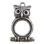 Zinc Alloy Pendant Rhinestone Setting Owl antique silver color plated lead   cadmium free 32x18.50x6.50mm Hole:Approx 2.5mm Approx 190PCs/KG