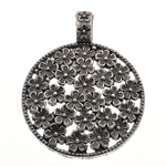 Zinc Alloy Pendants, Flower, antique silver color plated, nickel, lead & cadmium free, 57x45x11mm, Hole:Approx 10.5x8mm, 20PCs/Bag, Sold By Bag