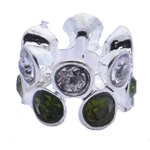 Rhinestone European Beads, Zinc Alloy, without troll & with rhinestone, 7x10mm, Hole:Approx 5mm, 10PCs/Bag, Sold By Bag