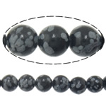 Natural Snowflake Obsidian Beads, Round, imported, 12mm, Hole:Approx 1.2mm, Length:Approx 15 Inch, 5Strands/Lot, Approx 32PCs/Strand, Sold By Lot
