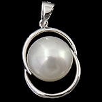 Freshwater Pearl Pendants with 925 Sterling Silver Button platinum plated with cubic zirconia white 12.50x18x8.60mm Hole:Approx 3x5mm 5PCs/Lot