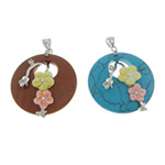 Mixed Gemstone Pendants, with Brass, platinum color plated, with rhinestone, 40x40x10mm, Hole:Approx 5mm, 10PCs/Lot, Sold By Lot
