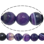 Natural Purple Agate Beads, Round, different size for choice & machine faceted & stripe, Hole:Approx 1-1.2mm, Length:Approx 15 Inch, Sold By Lot