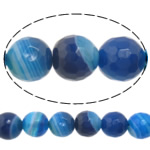 Natural Blue Agate Beads, Round, machine faceted & stripe, 6mm, Hole:Approx 0.8-1mm, Length:Approx 15 Inch, 10Strands/Lot, Sold By Lot