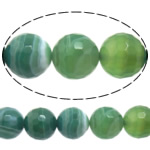 Natural Green Agate Beads, Round, machine faceted & stripe, 8mm, Hole:Approx 0.8-1mm, Length:Approx 15 Inch, 10Strands/Lot, Sold By Lot