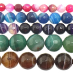 Agate Beads, Mixed Agate, Round, stripe, mixed colors, 12mm, Hole:Approx 1-1.5mm, Length:15 Inch, 5Strands/Lot, Sold By Lot