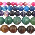 الخرز العقيق, العقيق مختلطة, جولة, شريط, الألوان المختلطة, 12mm, حفرة:تقريبا 1-1.5mm, طول:15 بوصة, 5جدائل/الكثير, تباع بواسطة الكثير